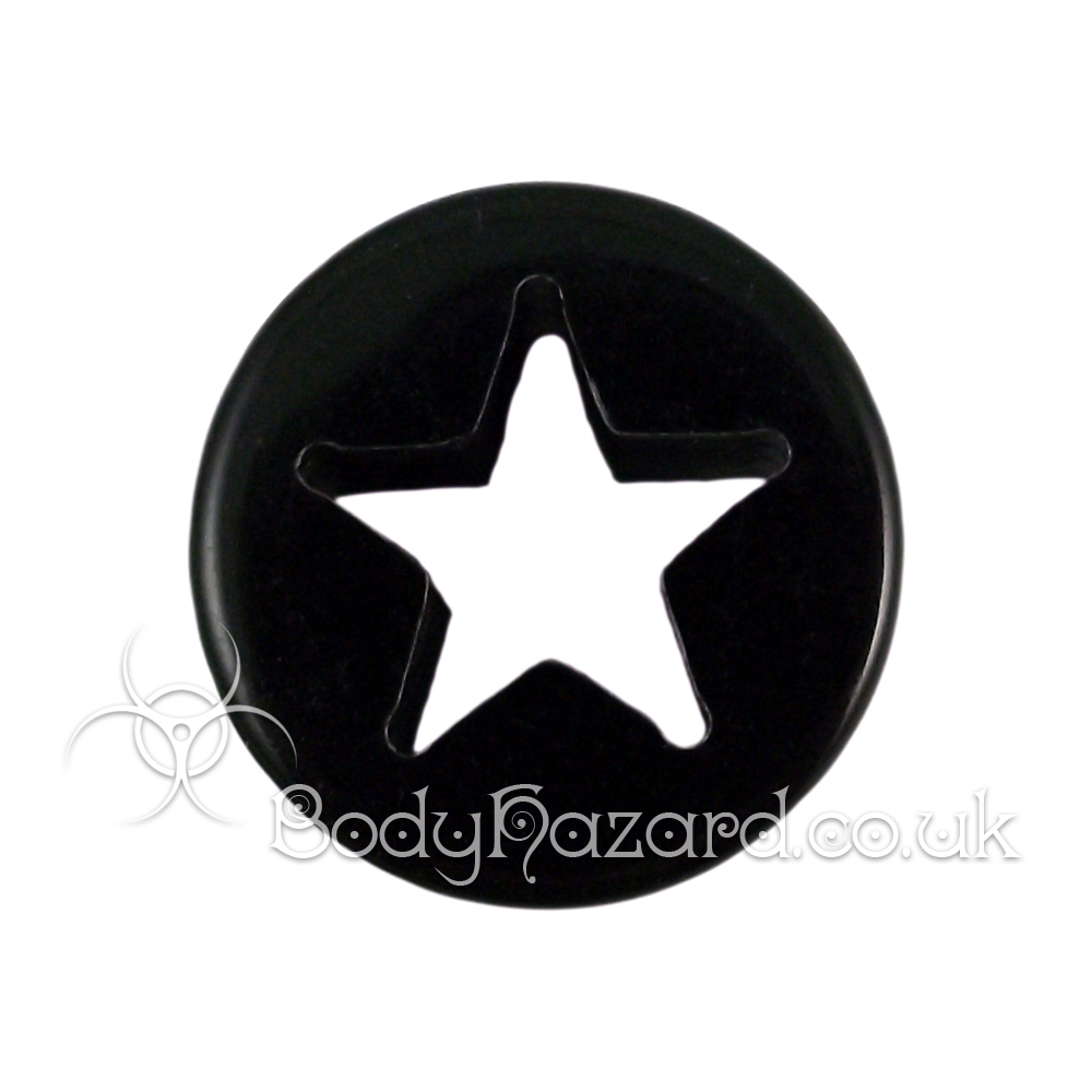 Black Acrylic Laser Cut Star Double Flared Tunnel