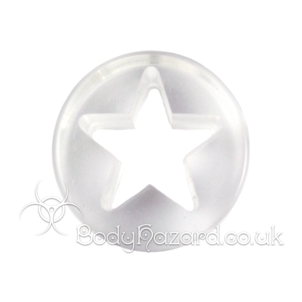 Clear Acrylic Laser Cut Star Double Flared Tunnel