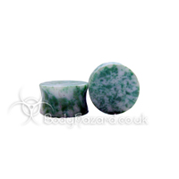 Spotted African Jade Stone Double Flared Plug