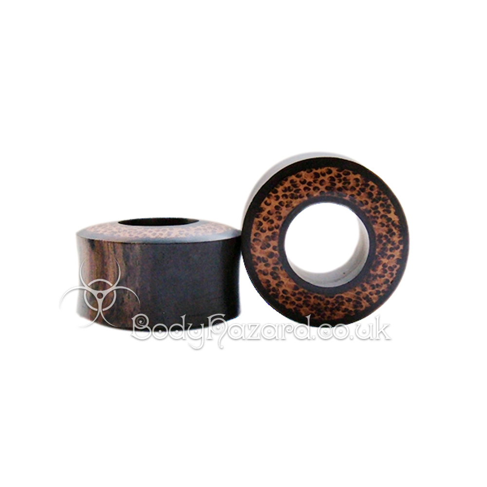 Areng Wood with Coconut Wood Inlay Double Flared Tunnels