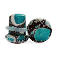 Blue Crazy Paving Agate Stone Single Flared Ear Plug