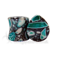 Blue Crazy Paving Agate Stone Teardrop Double Flared Plug