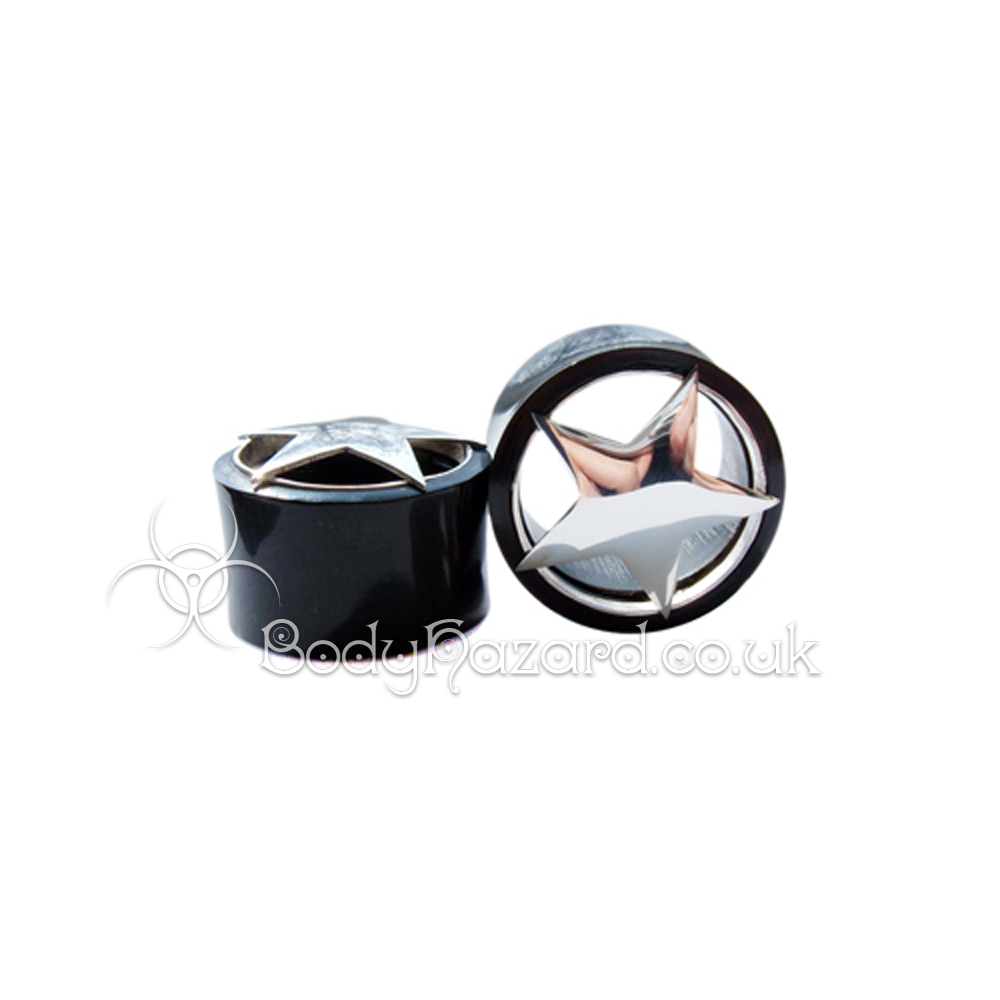 Black Buffalo Horn Ear Tunnel w/ Silver Solid Star