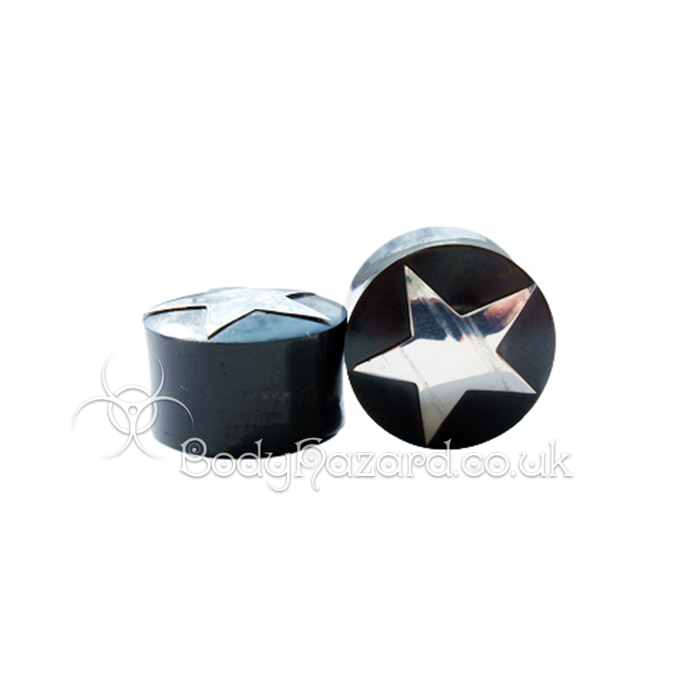 Black Buffalo Horn Ear Plug w/ Silver Star