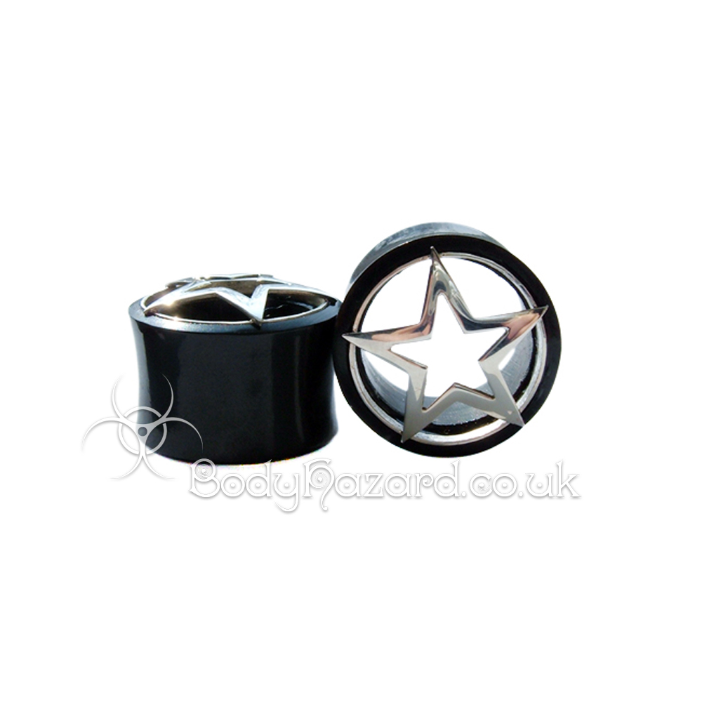 Black Buffalo Horn Ear Tunnel w/ Silver Line Star
