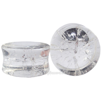 Clear Quartz Concave Stone Double Flared Ear Plug