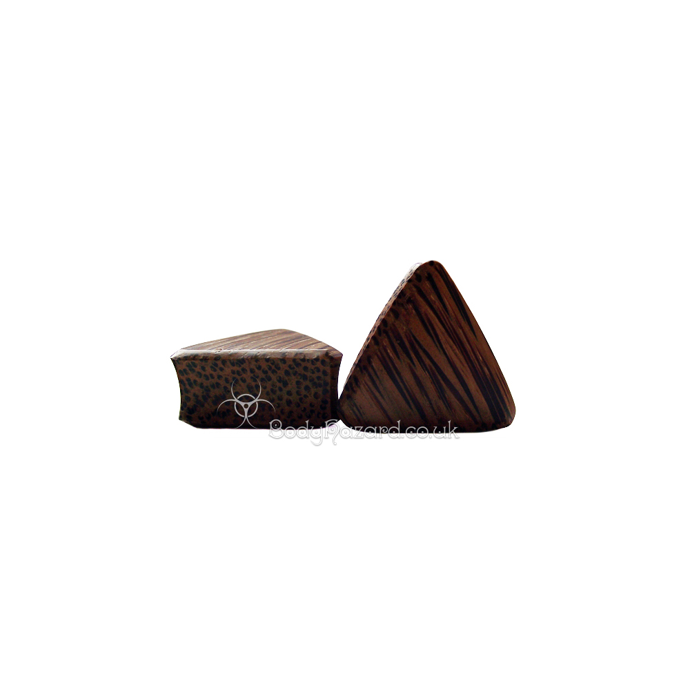 Coconut Wood Triangle Double Flared Plugs