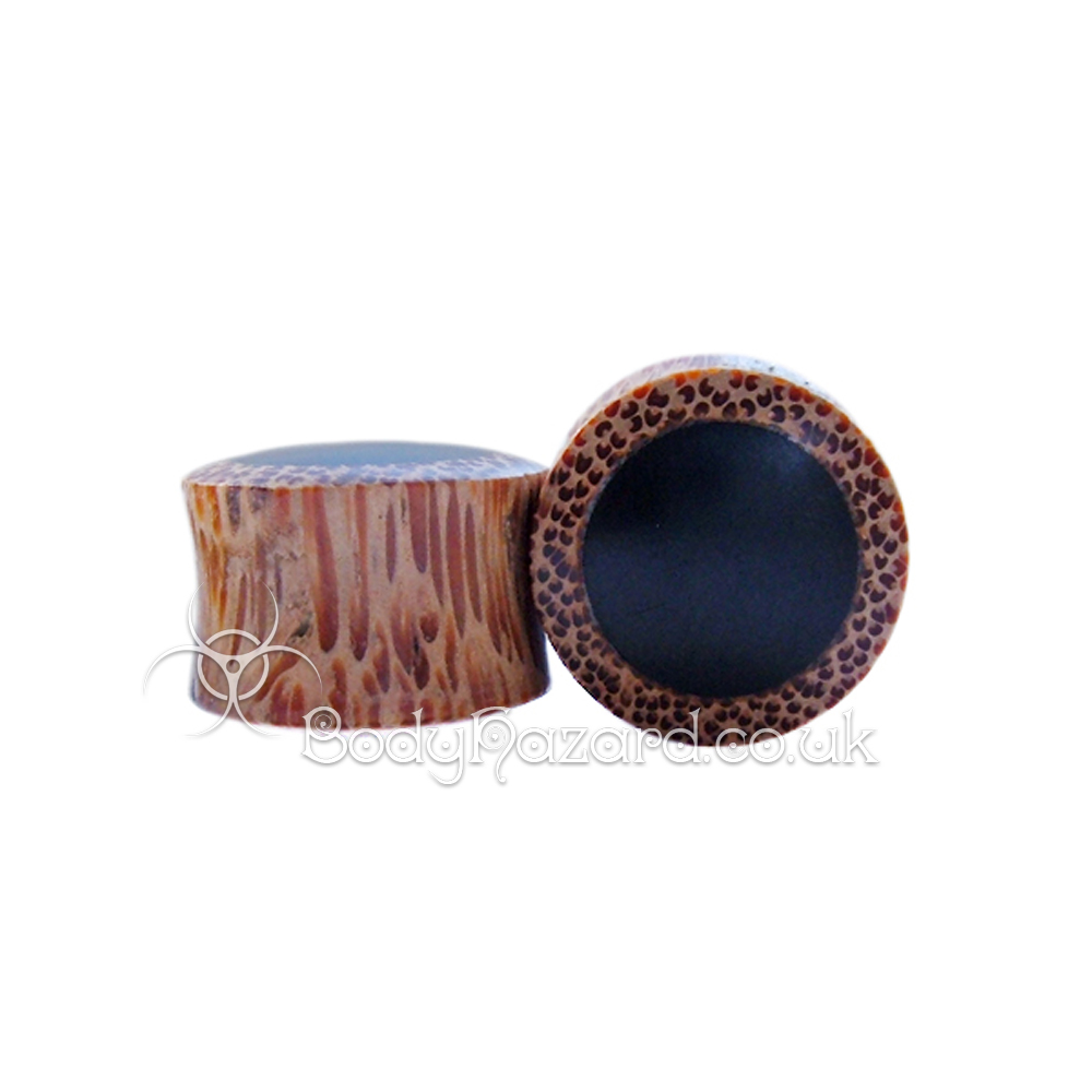 Coconut Wood with Black Wood Inlay Double Flared Plugs
