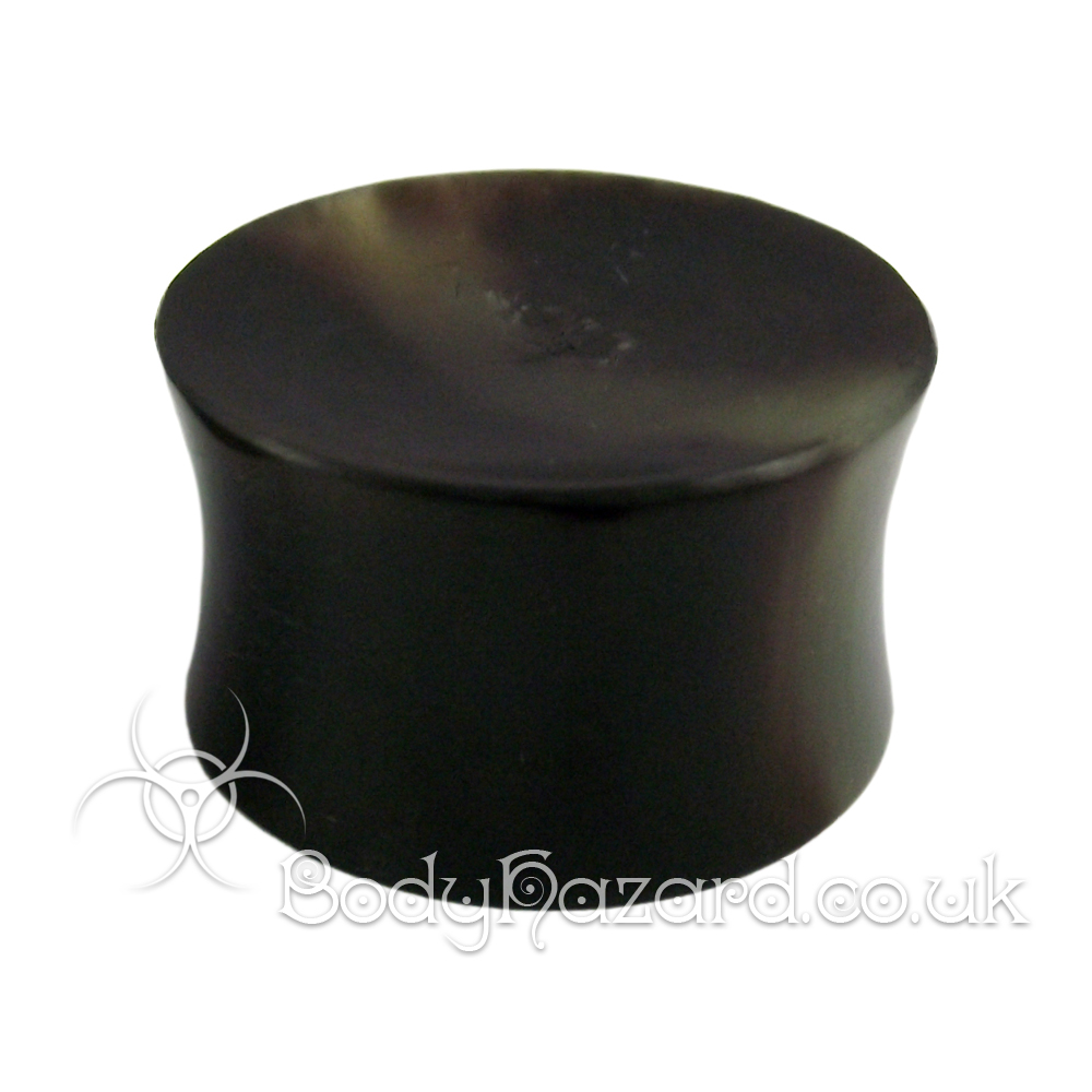 Black Buffalo Horn Concave Double Flared Plug