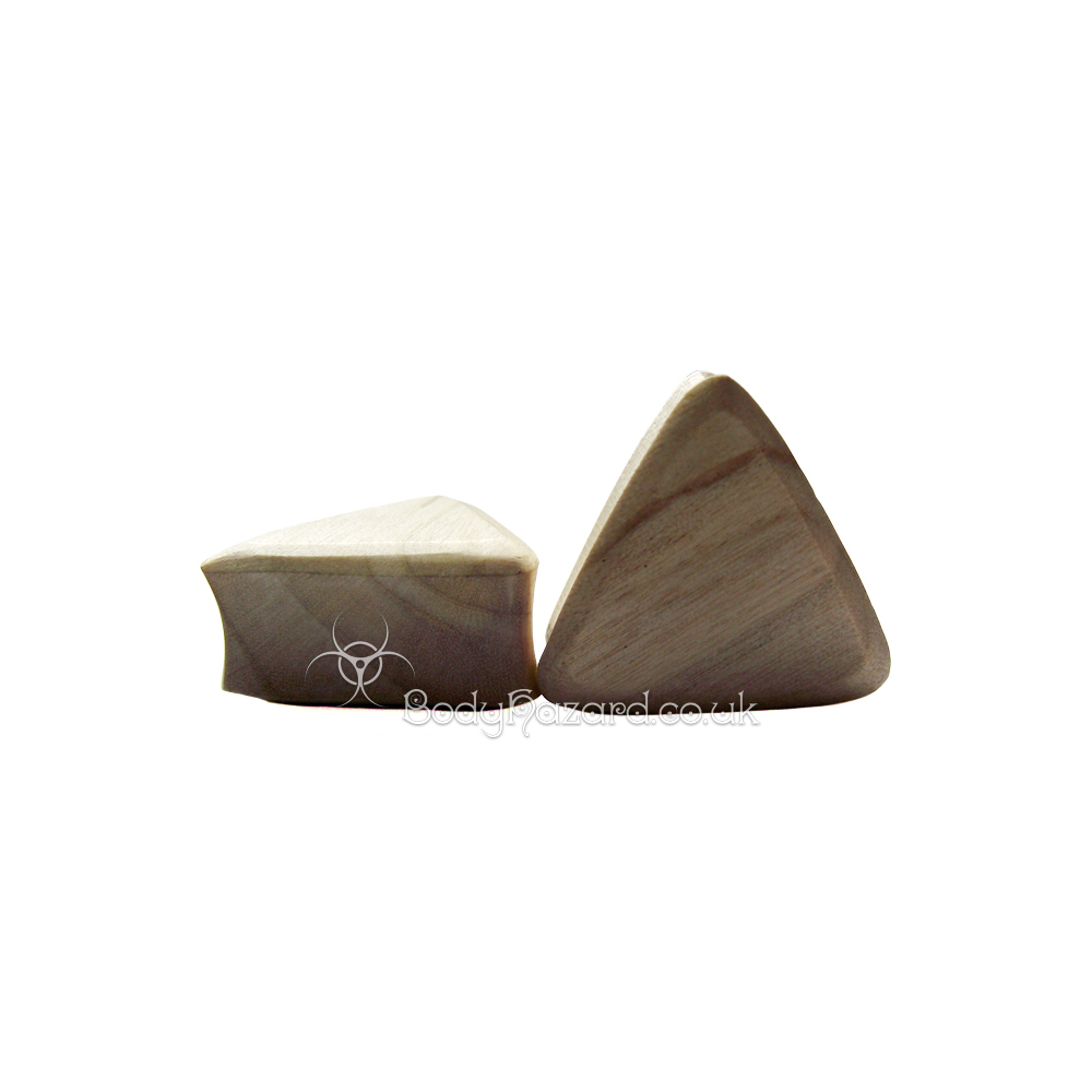 Crocodile Wood Triangle Double Flared Plugs