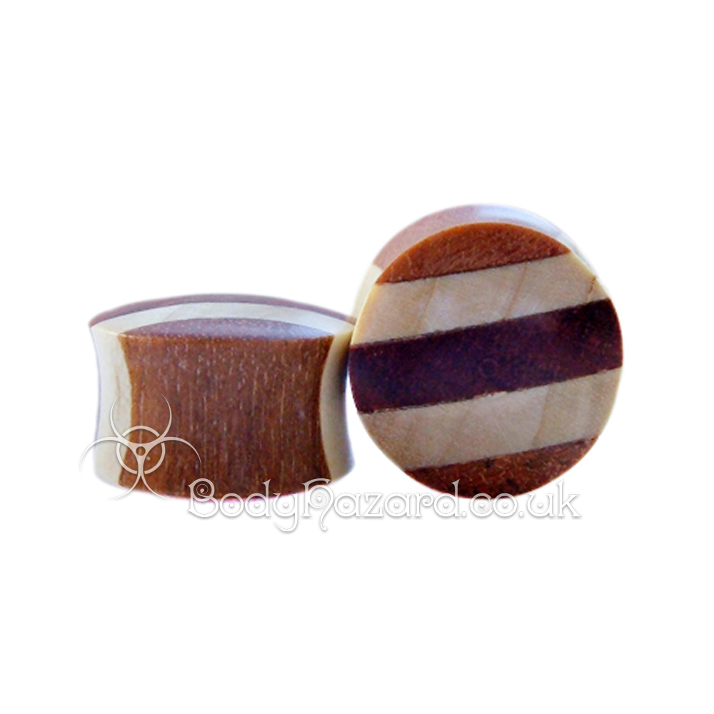 Crocodile and Saba Wood Striped Double Flared Plugs