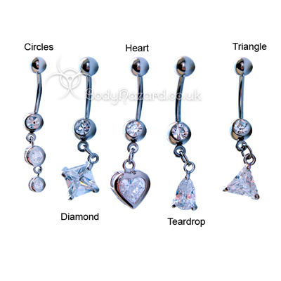 Clear CZ Shape Dangle Belly Bar Surgical Steel Barbells