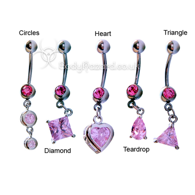 Pink CZ Shape Dangle Belly Bar Surgical Steel Barbells