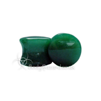 Dark Green Jade Stone Double Flared Ear Plug