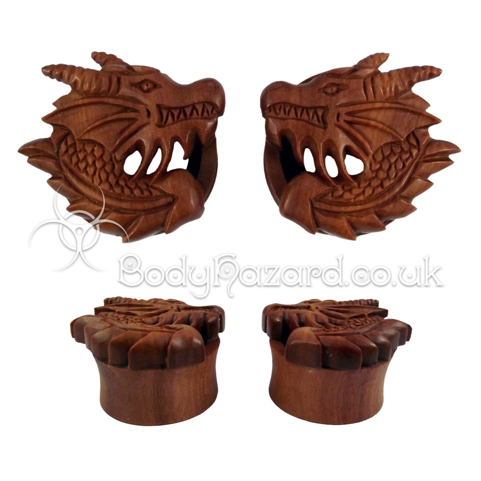 Pair of Dragon Carved Saba Wood Double Flared Tunnel