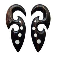 Pair of Ebony Wood Hooks with White Dots