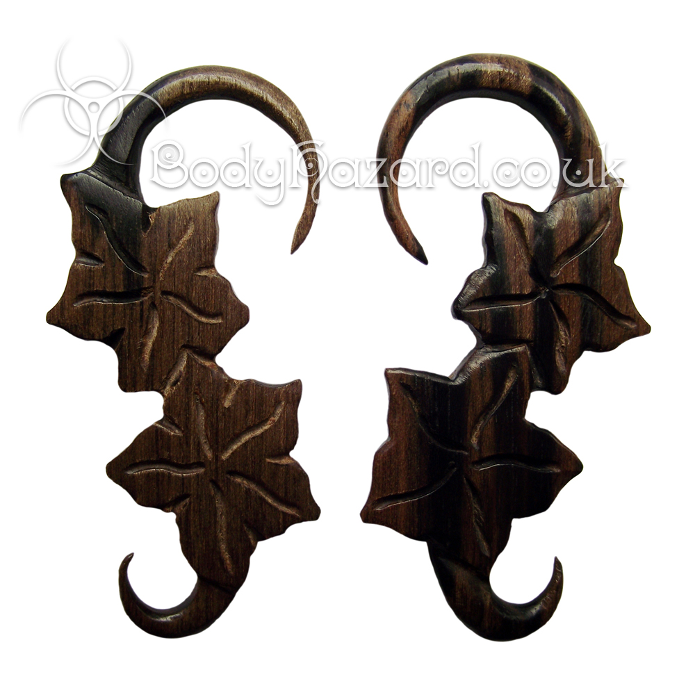 Ebony Wood Flower Hooks Pair