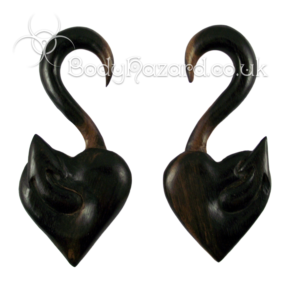 Ebony Wood Heart Hooks Pair