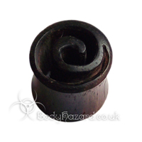Ebony Wood Cut Spiral Double Flared Plugs