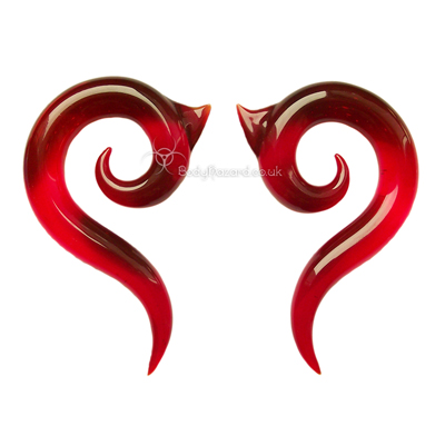 Ruby Red Borneo Glass Spirals Ear Weights by Gorilla Glass