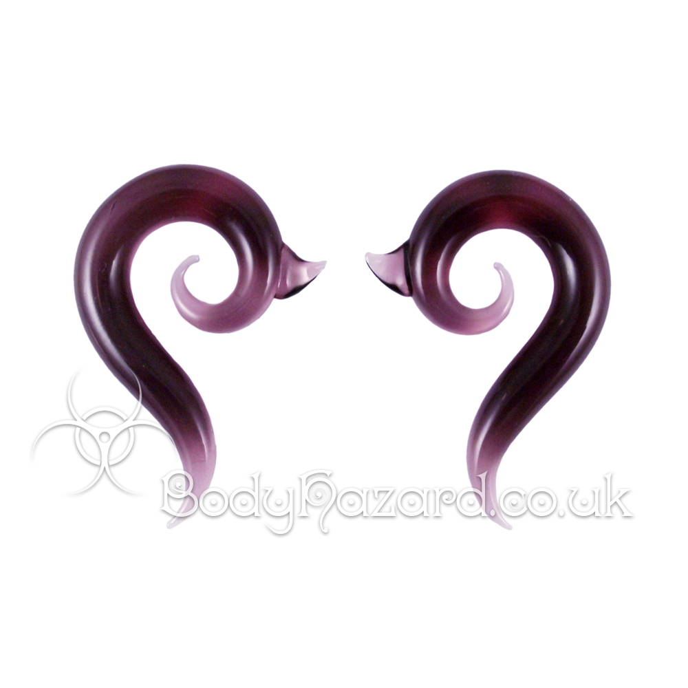 Purple Borneo Glass Spirals Ear Weights 8mm by Gorilla Glass