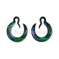 Aqua Crescent Dichroic Hoops Glass Ear Weights by Gorilla Glass