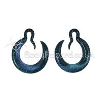 Blue Crescent Dichroic Hoops Glass Ear Weights by Gorilla Glass