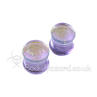 Lavender Gold Dichroic Double Flared Plugs 12mm by Gorilla Glass