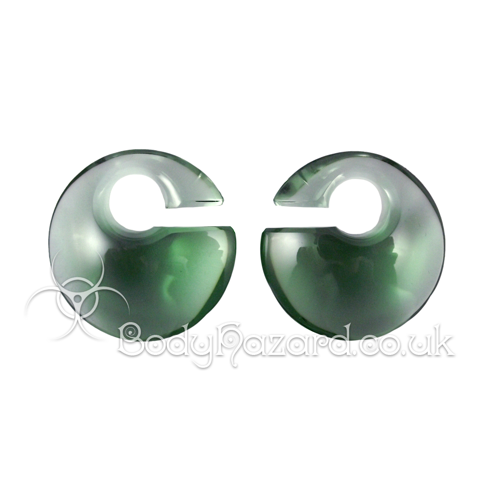 Forest Green Eclipse Glass Ear Weights Mini by Gorilla Glass