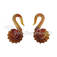 Amber Purple Nautilus Spiral Ear Weights by Gorilla Glass