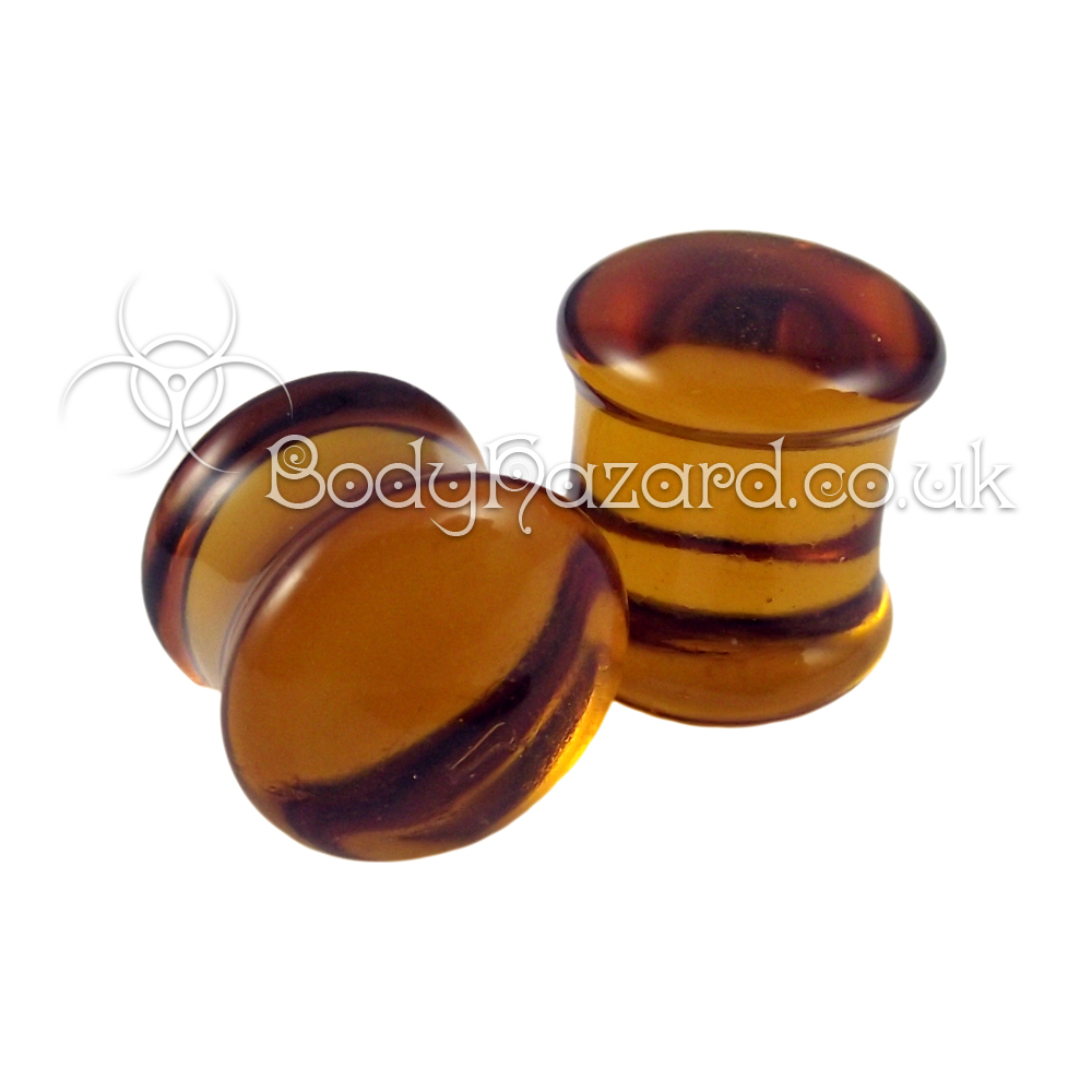 Amber Glass Double Flared Plugs 12mm by Gorilla Glass