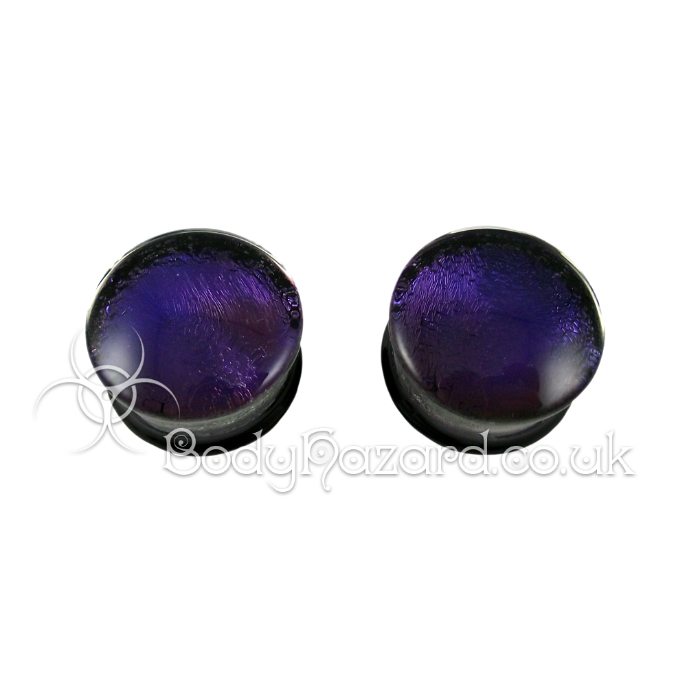 Deep Purple Dichroic Glass Plugs 25mm by Gorilla Glass