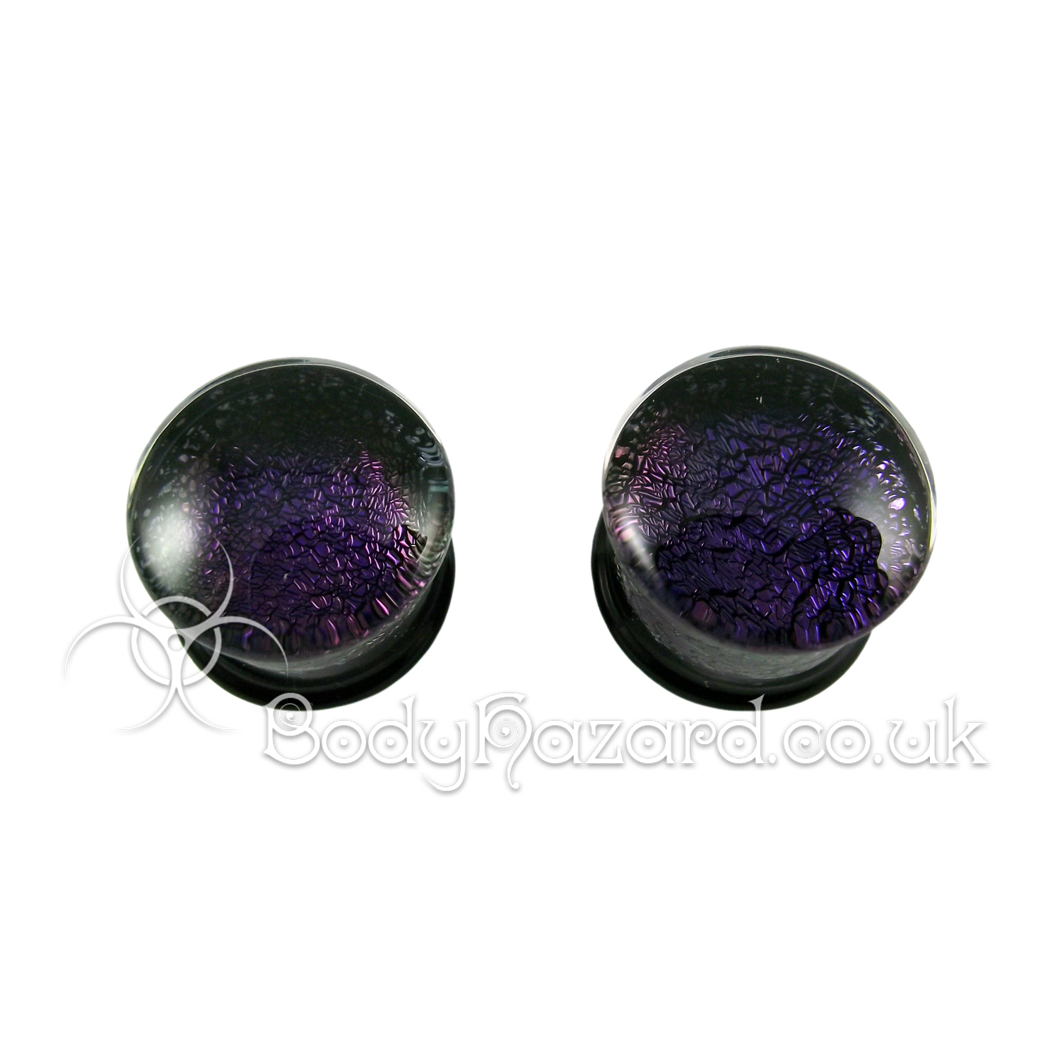 Deep Purple Dichroic Glass Plugs 16mm by Gorilla Glass