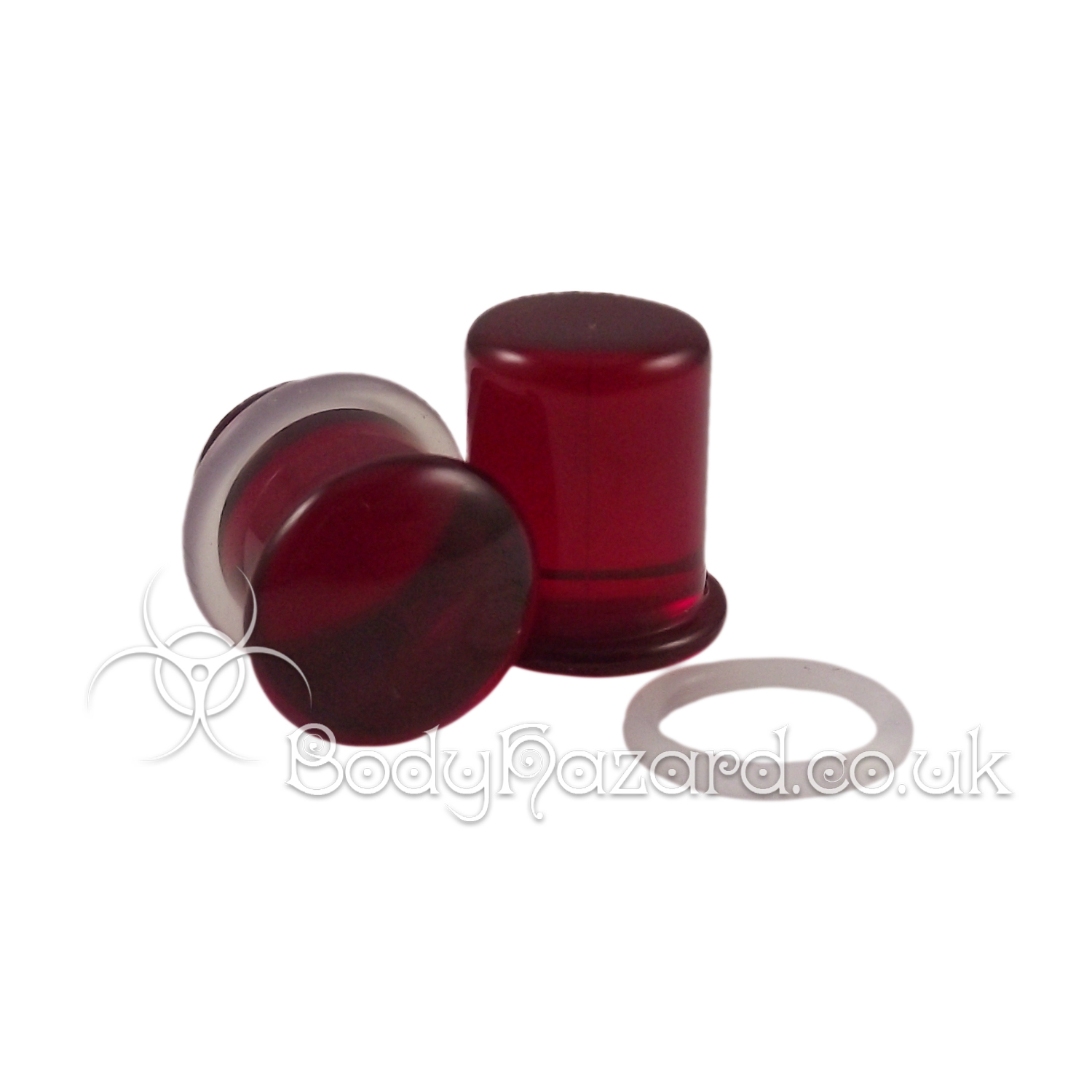 Ruby Red Glass Single Flared Plugs by Gorilla Glass