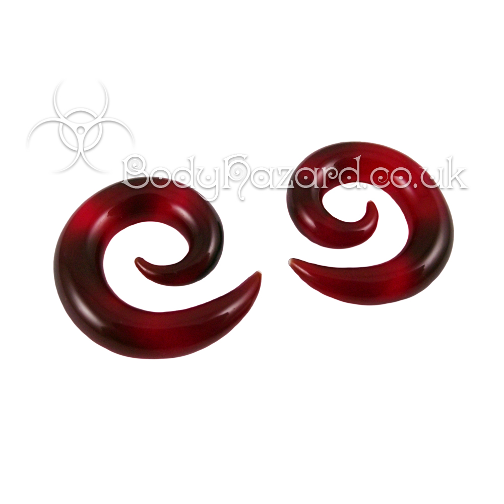 Ruby Red Glass Spirals Ear Weight by Gorilla Glass