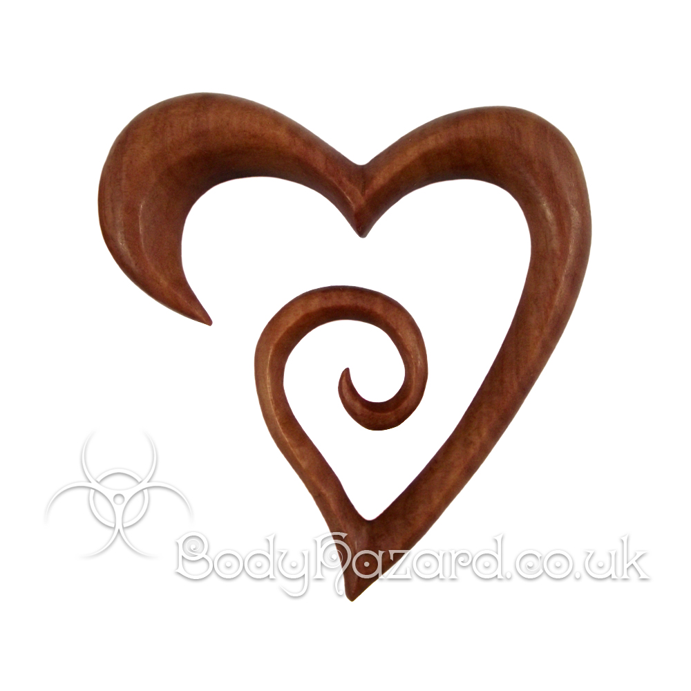 Saba Wood Heart Spirals