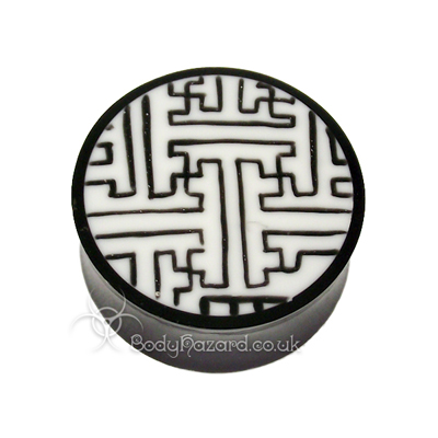 Buffalo Horn Double Flared Plug With Swastika Maze
