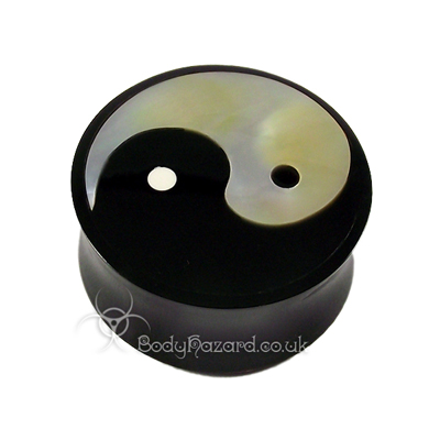 Buffalo Horn Double Flared Plug With Ying Yang
