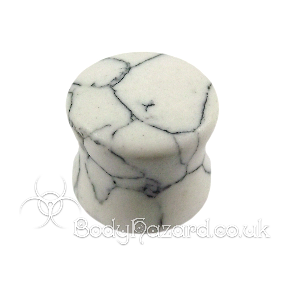 White Howlite Stone Double Flared Ear Plug