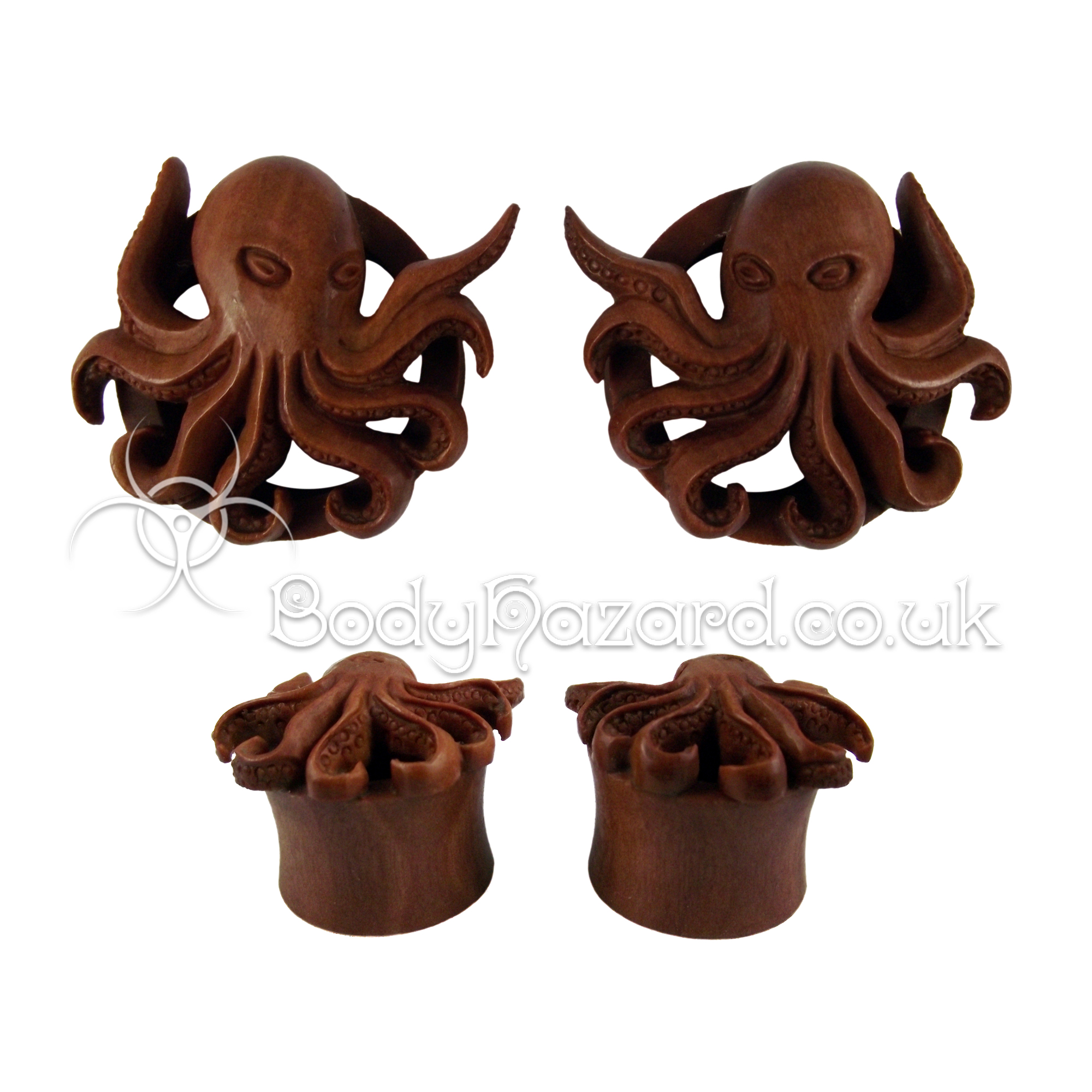 Pair of Kraken Carved Saba Wood Double Flared Tunnel