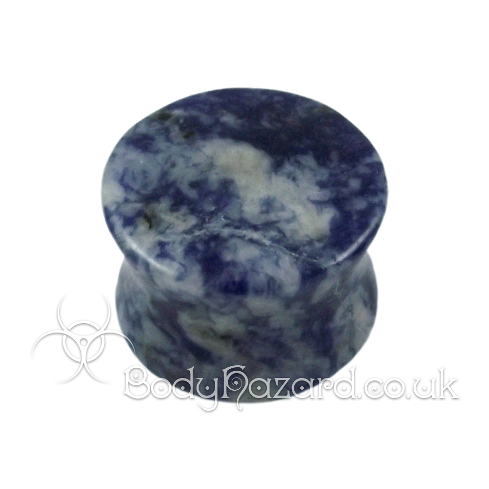 Blue Lapis Lazuli Denim Stone Double Flared Ear Plug
