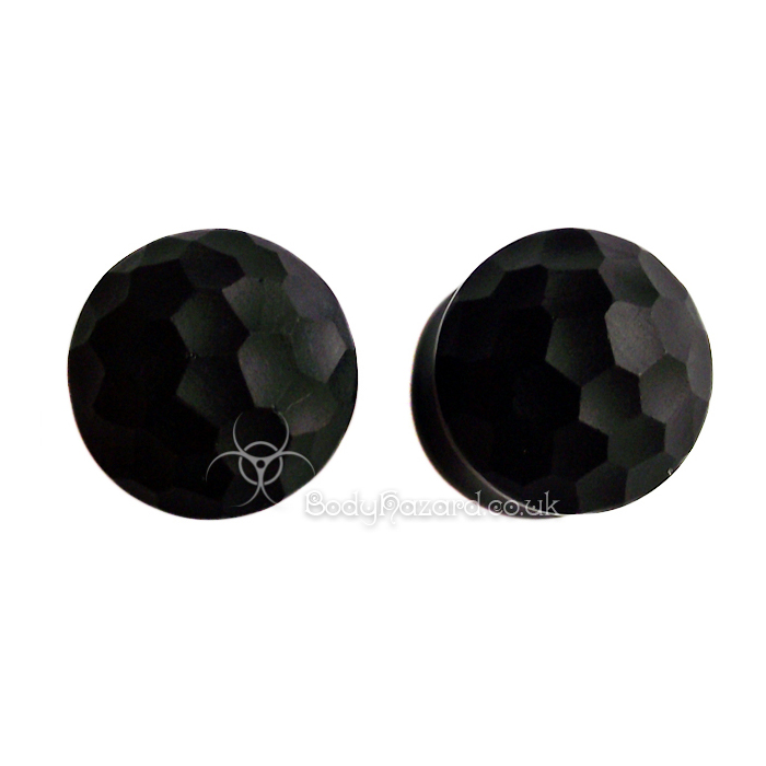 Pair of Black Martele Glass Plugs by Gorilla Glass - Click Image to Close