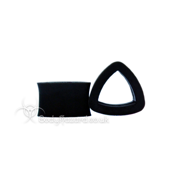 Black Triangle Silicone Eyelet Teardrop Shape Tunnel - Click Image to Close