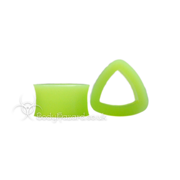 Green Triangle Silicone Eyelet Teardrop Shape Tunnel - Click Image to Close