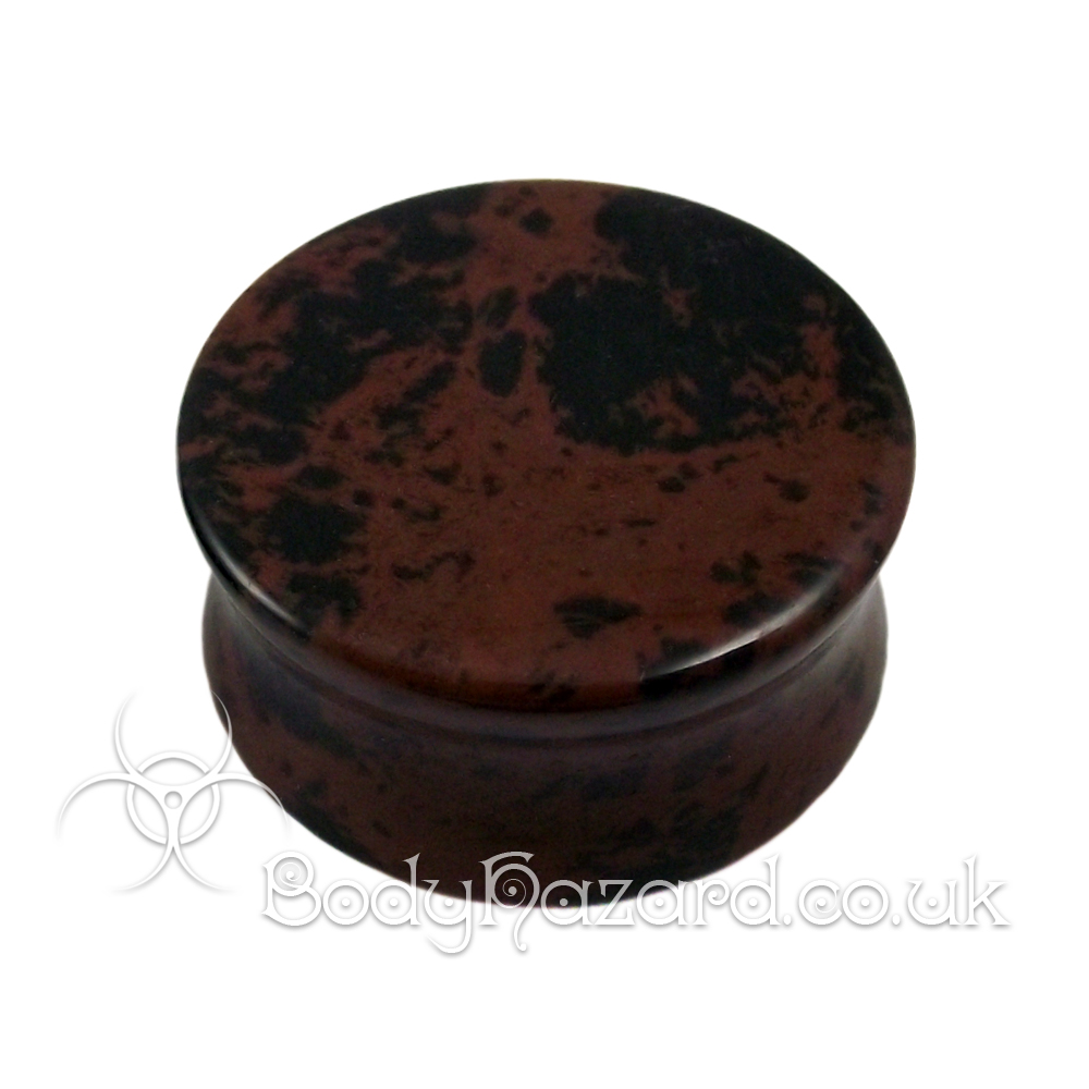 Mahogany Obsidian Stone Double Flared Ear Plug