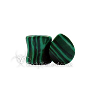 Malachite Stone Teardrop Double Flared Plug