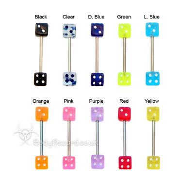 Dice Shaped Acrylic Tongue Bars Surgical Steel Barbells
