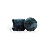 Green Moss Agate Stone Double Flared Ear Plug