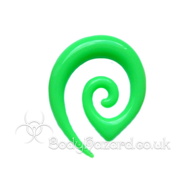 Neon Green Acrylic Tribal Ear Spiral