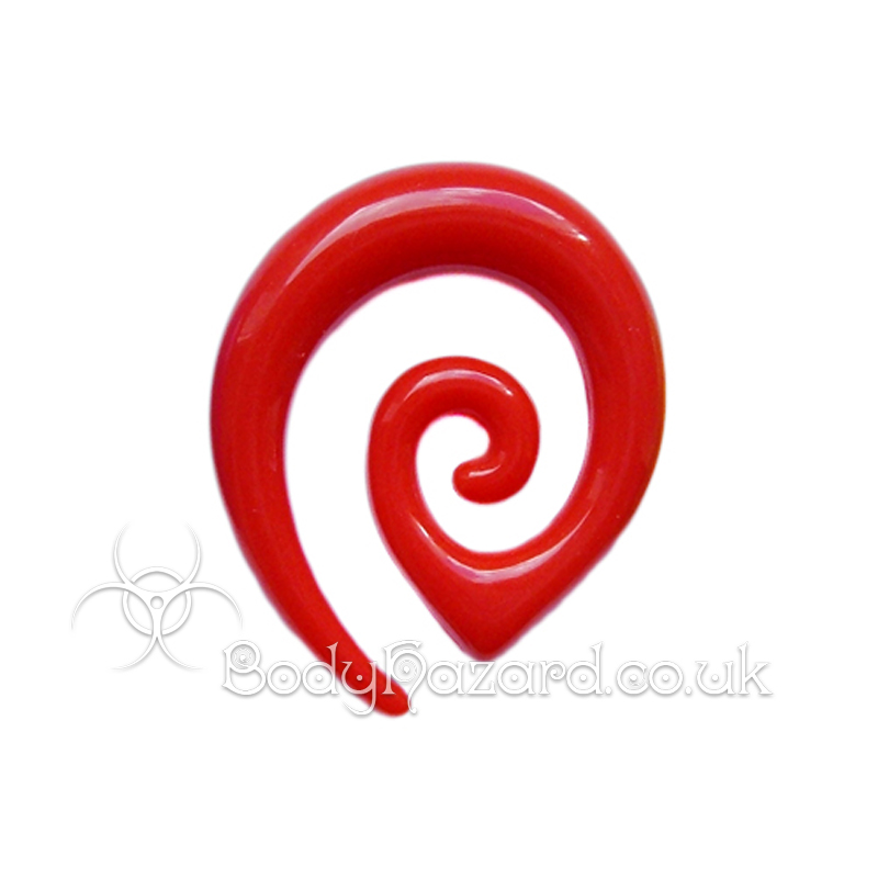 Red Acrylic Tribal Ear Spiral